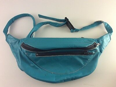 Vtg 80s Turquoise Faux Leather Fanny Pack Bum Bag 3 Pockets Plaid Blanket Lined