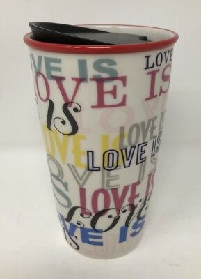 NEW Starbucks Tumbler LOVE IS Travel Mug Ceramic 12 oz  FREE SHIPPING