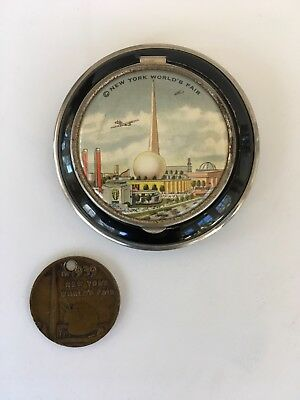 1939 New York Worlds Fair Compact And Coin Pendant