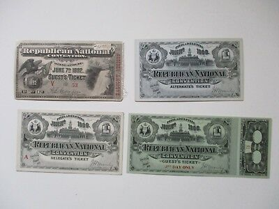 Four Vintage Tickets to Republican Conventions 1 for 1892 and 3 for 1900