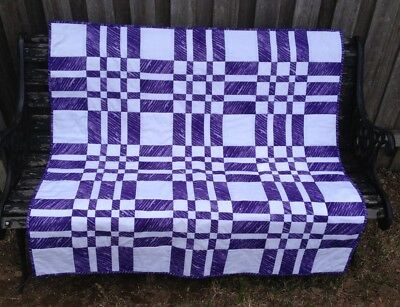 Handmade Patchwork Lap Quilt. Purple and white.