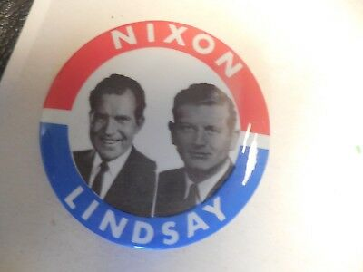 Richard Nixon 1968 John Lindsay Pin Back Presidential Campaign President Button