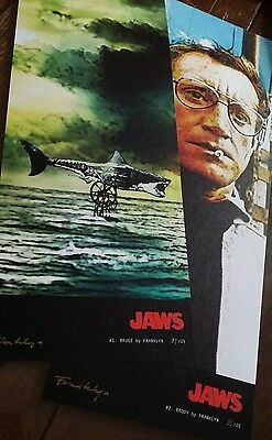 Signed limited edition JAWS character  movie poster art print . Steven Spielberg