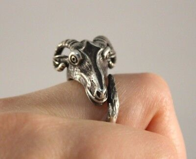 Antique 800 Silver Ram Ring Rare Piece 10g