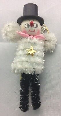 """4"""" Vintage Christmas Snowman Pipe Cleaner Chenille Tree Ornament Japan"""