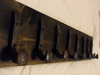 "8 Antique Hooks Old Railroad Spike Art ""Black Ebony"" Vintage Style Coat Rack"