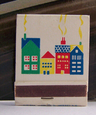 Rare Vintage Matchbook S3 Jaffrey New Mexico Made Colorful Cute Houses Chimneys
