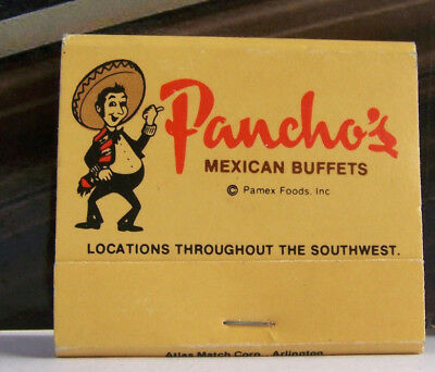Rare Vintage Matchbook S3 Texas Pancho's Pamex Foods Mexican Buffets Southwest