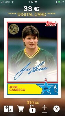 2018 Topps BUNT Jose Canseco 35th Anniversary All Star Signature DIGITAL 310cc