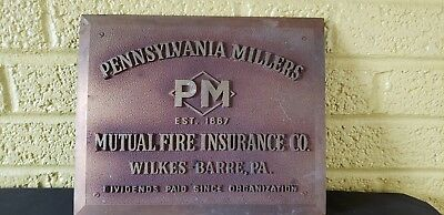 Wilkes Barre PA Fire Insurance Advertising Sign PA Millers Mutual Fire Ins