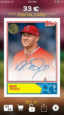 2018 Topps BUNT Mike Trout 35th Anniversary All Star Signature DIGITAL 321cc