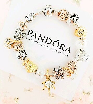 """Authentic Pandora Bracelet Silver Bangle with """"Love Story"""" Charms"""