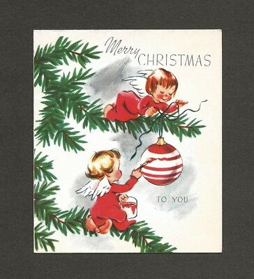 '50s Angels Painting Ornaments on Tree Vintage Christmas Card
