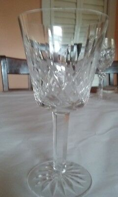 """Waterford Crystal Lismore Claret Wine Glass Signed 5 7/8"""" tall  Ireland"""
