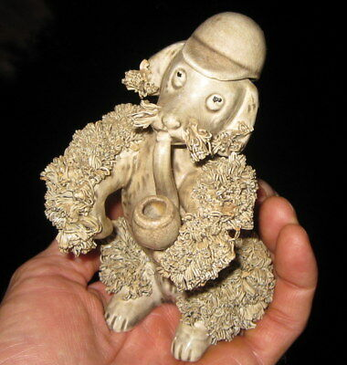 1950's Or Earlier Vintage Pipe Smoking Spaghetti Poodle Figurine / Antique Dog