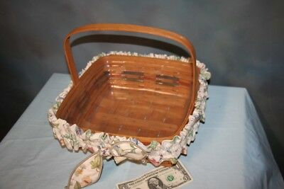 "Red Blue Longaberger Basket 12"" x 12 square w/Stationary Handle Protector Garter"