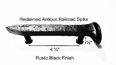 "4-1/4"" Right Black Railroad Spike Dresser Drawer Cabinet Handle Antique Vintage"