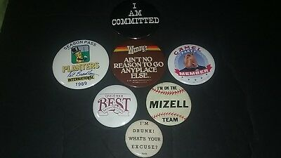 Lot of 7 Vintage Buttons Pins Badges