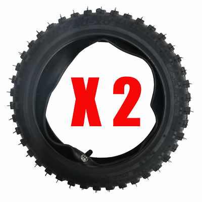 """2 Sets 2.50-10"""" Front Knobby Tyre Tire + Inner Tube for Pit Trail Dirt PW50 Bike"""