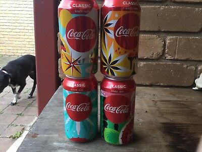 4 2018 Coca Cola Summer Lovin Cans.Bottom Opened