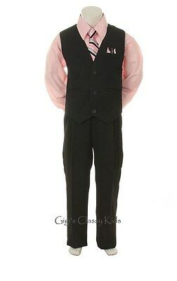 New Baby Toddler  Boys Pink Black Vest Suit Outfit 4 Piece Christmas Wedding