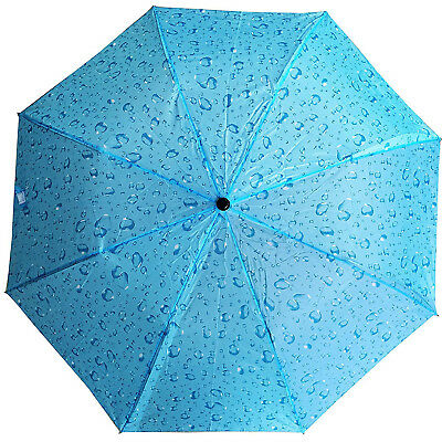 Automatic Folding Compact Umbrella Women Windproof Rain Travel Umbrella Blue