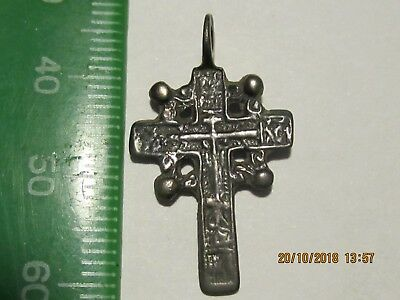 Cute cross made of white bronze. Glitters, as silver. 17 century  Wearable.