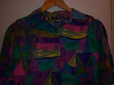 Vintage Womens Bright Print Size 14 Blouse In Excellent Condition