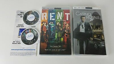 Casino Royale and RENT PlayStation Portable PSP UMD Movies - W/ box - tested