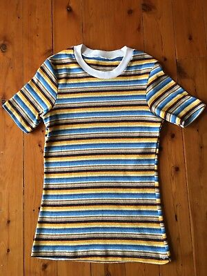 True Vintage 1970s Blue and Yellow Striped Ringer Tee