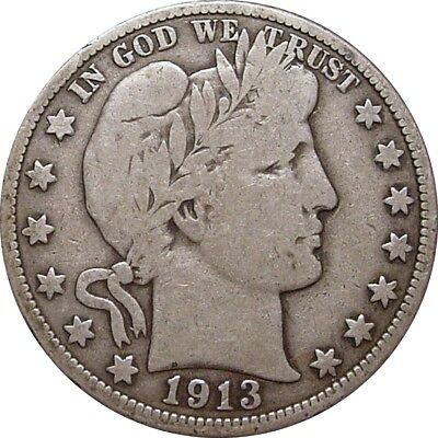1913 Barber Half Dollar--Attractive Very Good