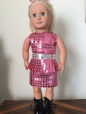 "Our Generation, American Girl, 18"" Doll,  Silver And Pink Party Dress"