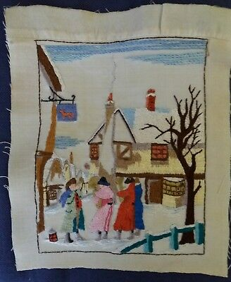 Vintage hand embroidered picture panel *  Village scene 19cm x 15cm