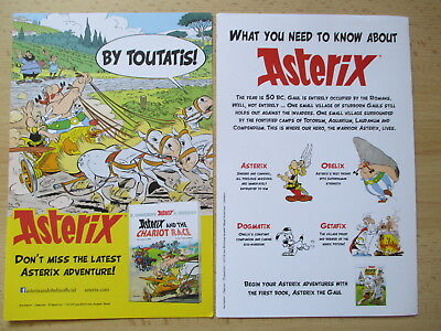 ASTERIX and the Chariot Race Lot 2x Flyers publicitaires anglais RARE !