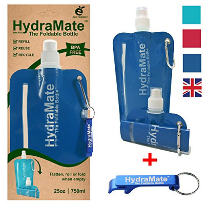 HydraMate FOLDABLE WATER BOTTLE - BPA Free. Collapsible 26oz/750ml Lightweight,