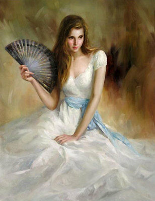ZOPT667 hold fan long dress girl sitting On the ground art OIL PAINTING CANVAS