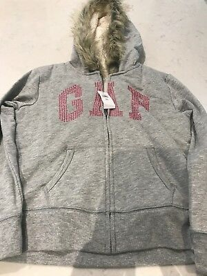 Girls GAP fleece lined hoodie M age 8-9 grey and pink