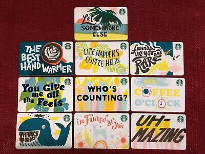 10 New Starbucks 2019 Recycled Paper Gift Cards Lot