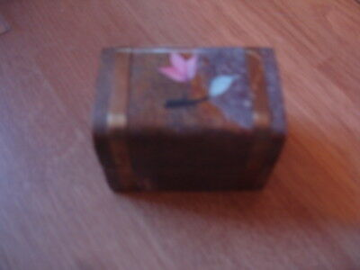 marble small trinket box chest with brass inlay and inlaid flowers