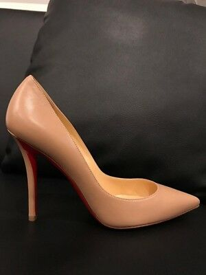 timeless design bee15 c6d66 100% AUTH, CHRISTIAN Louboutin Apostrophy Classic Pump 11 Nappa Nude, SZ  11/41