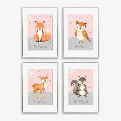 Woodland Animal Stars Nursery Prints Childrens Bedroom Decor Pictures Grey Pink