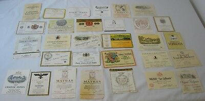 1960's Wine Label Lot of 30-Taken Off Bottle By Collector