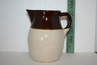Robinson Ransbottom RRP Co. 2 Tone Beige Brown Glazed Art Pottery Pitcher #121-J