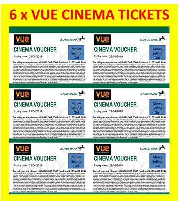 ** 6 x VUE CINEMA TICKETS (six) ** ONLINE BOOKING - ** INCLUDES LONDON **