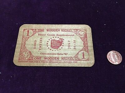 Wooden Nickel Mercer County Sesquicentennial Celina Ohio Wood Square Card Red