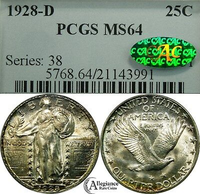 1928-D 25c Standing Liberty Silver Quarter PCGS CAC MS64 rare old type coin