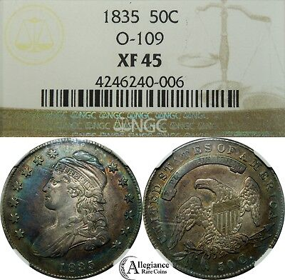1835 50c Capped Bust Silver Half Dollar NGC XF45 RAINBOW TONED rare O-109 coin