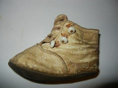 Antique 3 Button Leather Baby Shoe