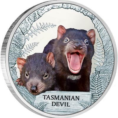 Tuvalu 2013 $1 Endangered and Extinct - Tasmanian Devil 1 Oz Silver Proof Coin