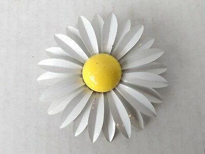Vintage Large Metal Enamel Flower White with Yellow Brooch Layered Pedals 9j2
